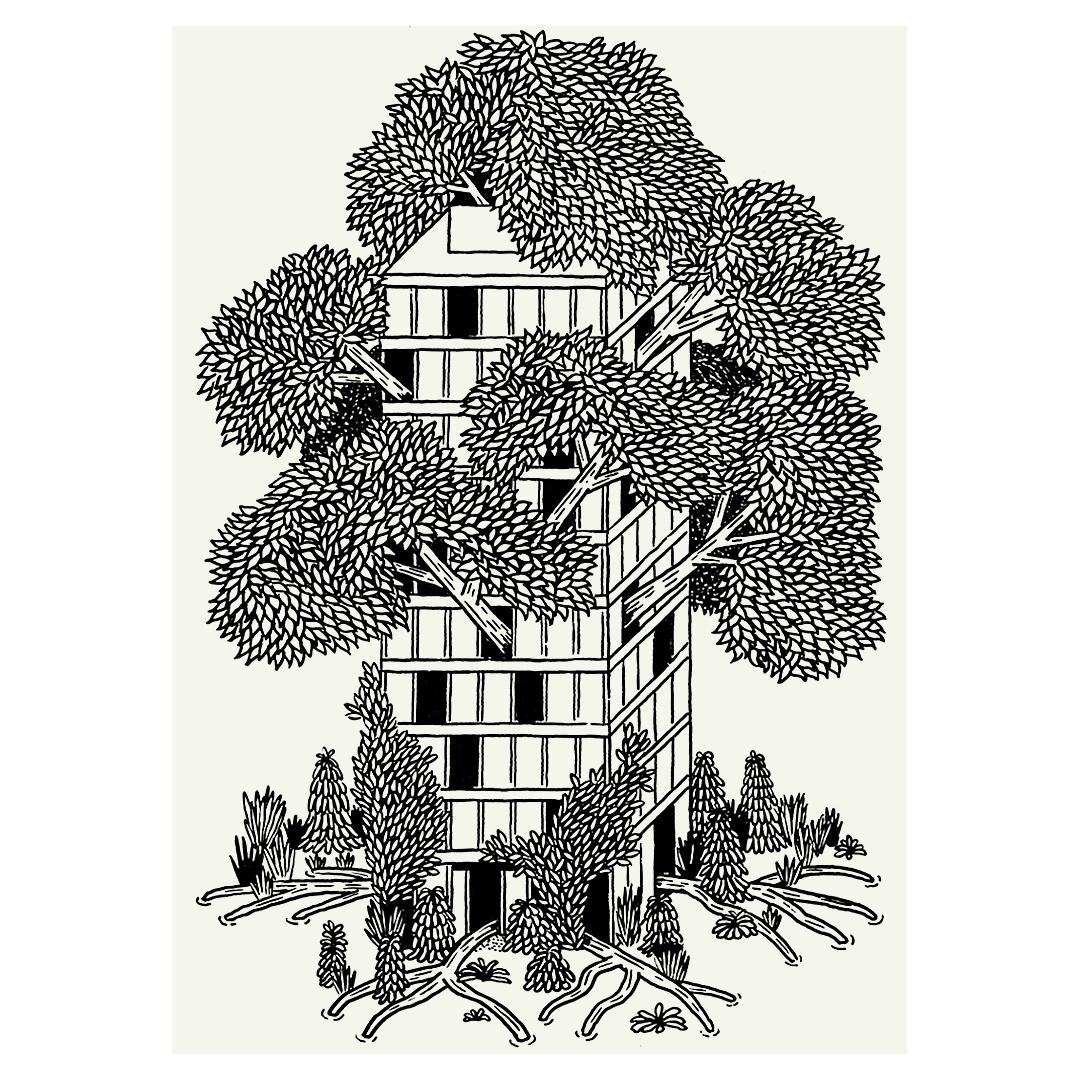 sabinekuehn-illustration-duesseldorf-nature-is-stronger-hochhaus